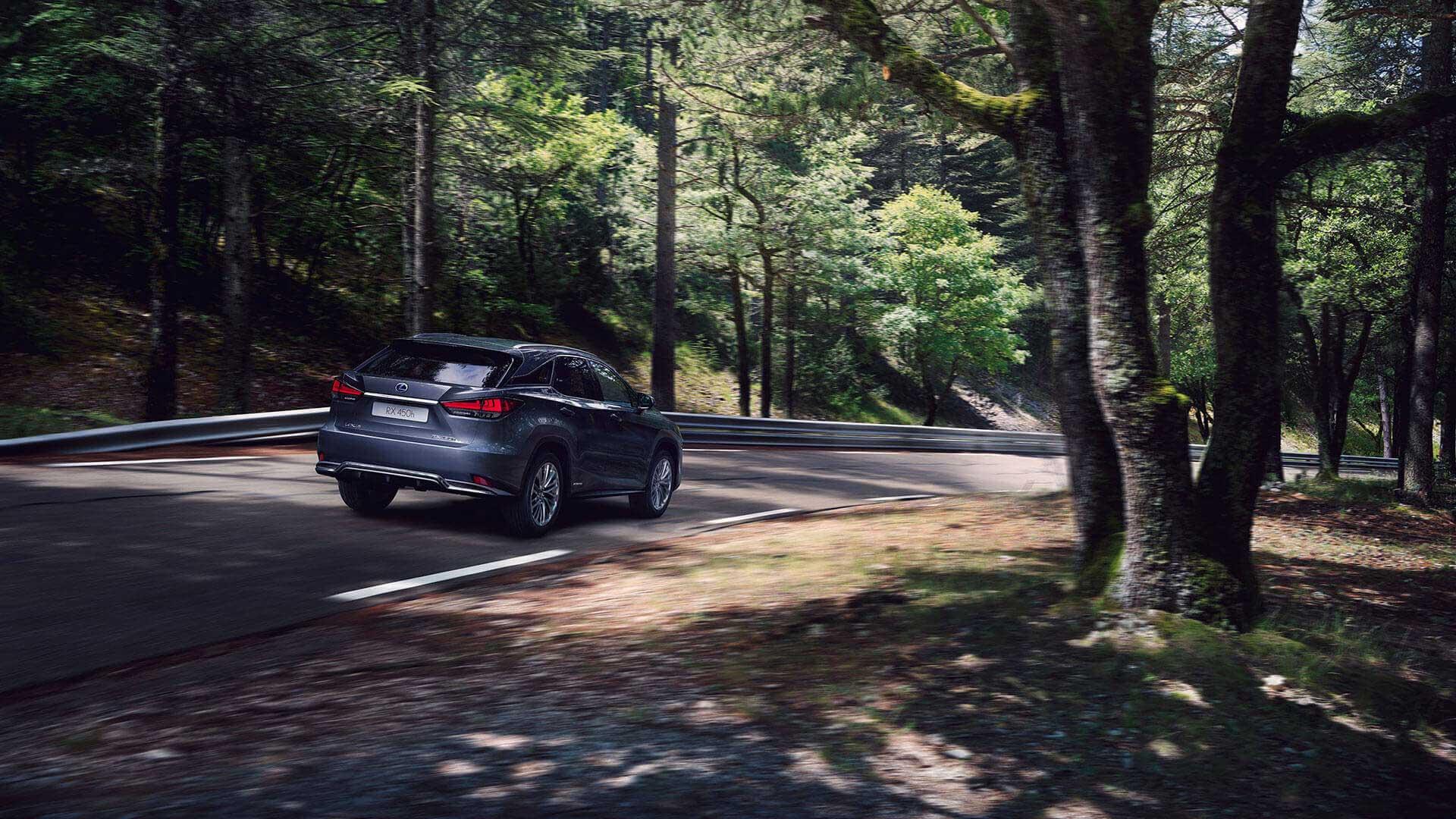 Lexus RX 450h Hybrid 2019 fahrend durch den Wald