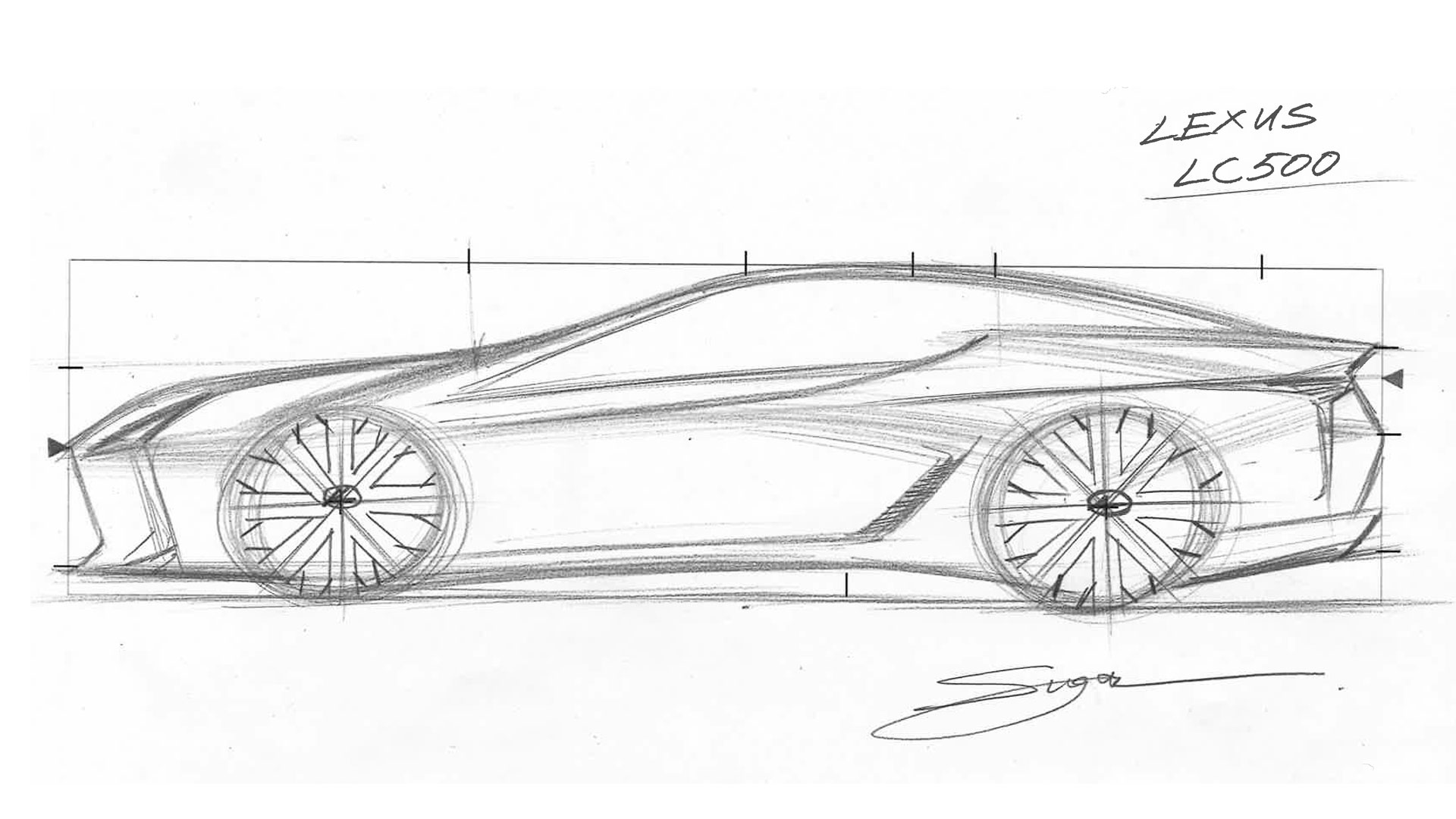 Imagen de un boceto del Lexus LC 500