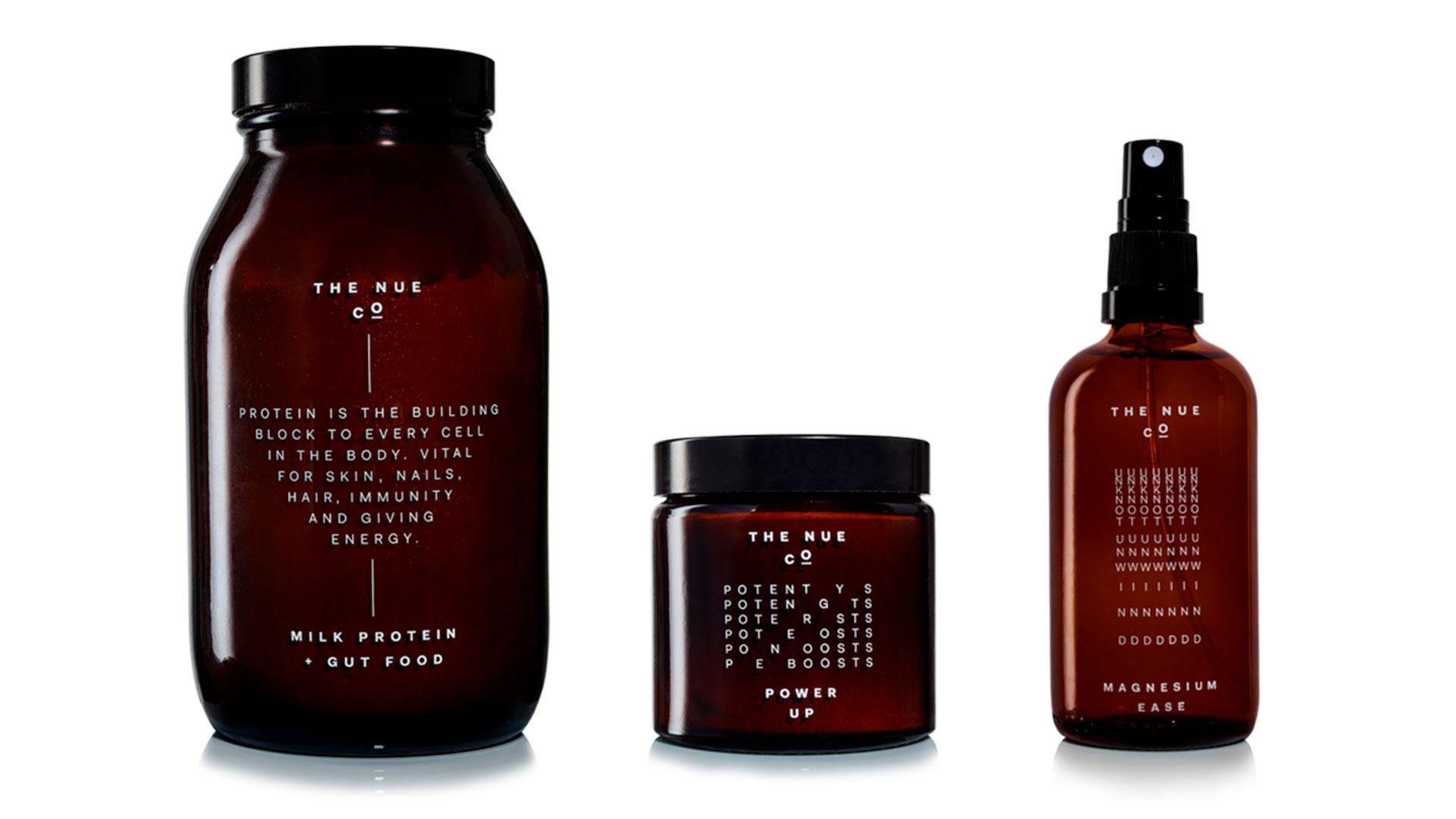 Imágenes de la línea de productos de cuidado personal de la marca Nue Co
